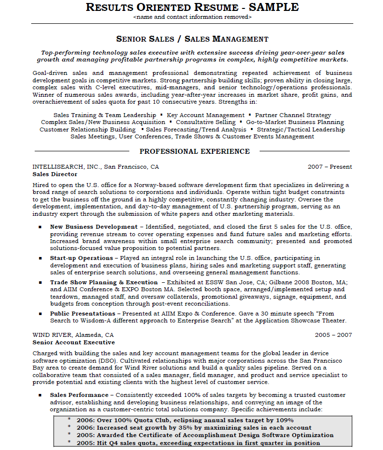 Results Oriented Resume - Page 1